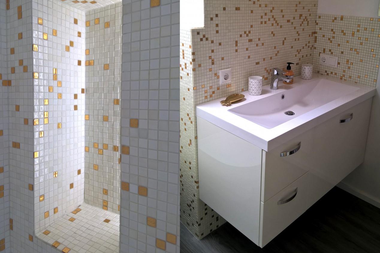 Mosaikfliesen-Design: Wandnische und Waschtisch